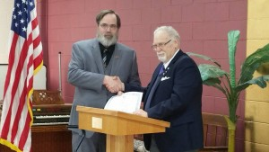 VWB Russ Presenting WB Jay with his PLIM certificate