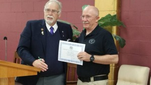 VWB Russ Presenting Brother Robert Morrow with his Proficiency in Lodge management certificate On a side note Robert will be Representing district 23 in the SR Wardens competition April 10th We are sure he will do well.